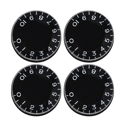 ULTNICE Speed Control Knobs Parts for Gibson Les Paul Replacement Electric Guitar 4PCS (Black)