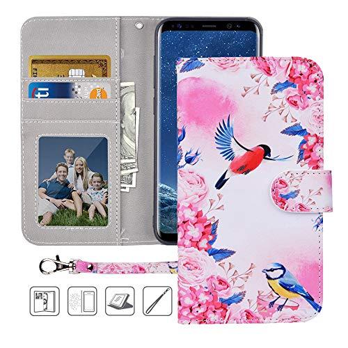 Galaxy S8 Wallet Case, Galaxy S8 Case,MagicSky Premium PU Leather Flip Folio Case Cover with Wrist Strap, Card Holder, Cash Pocket,Kickstand for Samsung Galaxy S8 - Birds Love Flowers