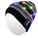 Qshell LED String Light Up Beanie Hat Knit Cap with Copper Wire Colorful Lights 4 feet 18 LEDs for Men Women Indoor and Outdoor, Festival, Holiday, Celebration, Parties, Bar, Black