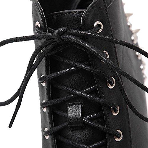 Alto Alla Piattaforma Pelle Tacco Grosso Donne Delle Caviglia Nera Stivaletti D2c Tempestato Di Bellezza Up Lace rttq0wgUx