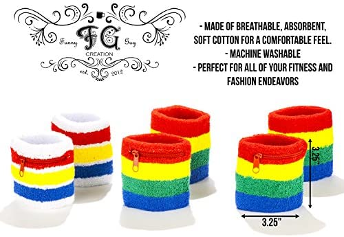 Funny Guy Mugs Unisex Wristband Set 6-Pack: 3 Wristbands with Zipper Pockets /& 3 Regular Wristbands