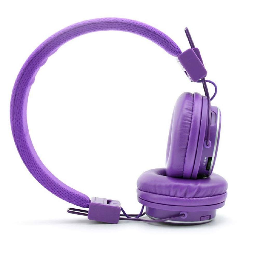 NIA Q8 Wireless Bluetooth Headphones with Built-in FM Radio and TF Card Mp3 Player-Purple