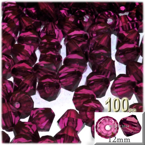 The Crafts Outlet, 100-pc Acrylic Bicone Beads, Faceted, 12mm, Fuchsia