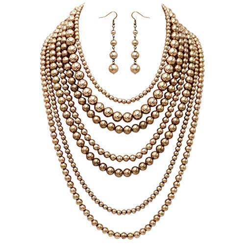 Rosemarie Collections Women's Fashion Jewelry Set Beaded Multi Strand Bib Necklace and Drop Earrings