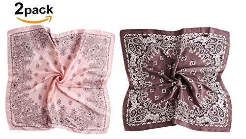 (GERINLY 2 PCS Paisley Print Neckerchief Vintage 27