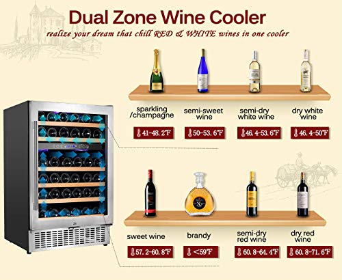 【Upgraded】Aobosi 24'' Dual Zone Wine Cooler 46 Bottle Built in and Freestanding Wine Refrigerator for Reds,Whites,Champagne |Stainless Steel Tempered Glass Door | Quiet Operation | LED display by AAOBOSI (Image #1)
