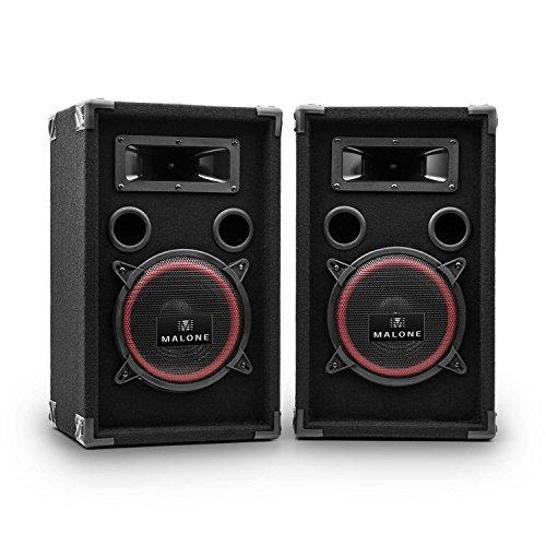 Malone Xen3508 PA-Boxen kompakte 1000W max. Lautsprecher Partyboxen mit 20cm Subwoofer (2 x 200W RMS, Bassreflex-Bauweise, Filzummantelung) schwarz-rot