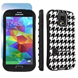 SkinGuardz Samsung Galaxy S5 Ultra Shock Absorbent Tough Grip Case with Kickstand + Screen Protector - (White Houndstooth)