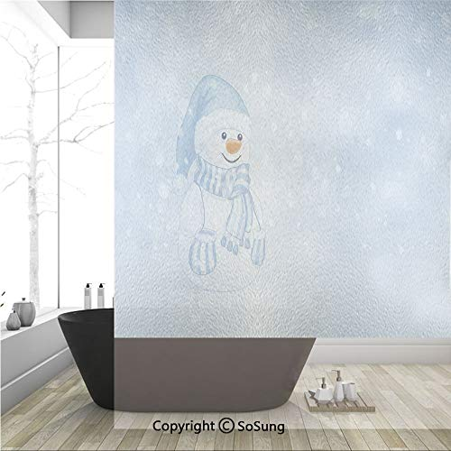 (3D Decorative Privacy Window Films,Kids Toddler Design Happy Snowman Cartoon Style Figure Merry Christmas Theme Decorative,No-Glue Self Static Cling Glass film for Home Bedroom Bathroom Kitchen Office)