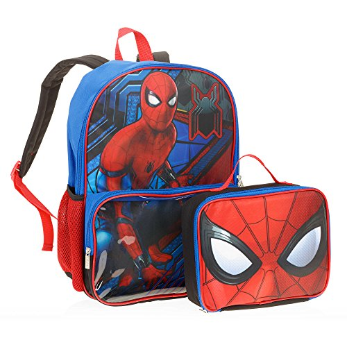 School Panthers Accessories - Spiderman Homecoming Marvel Backpack with Clear Pocket Lunch Bag