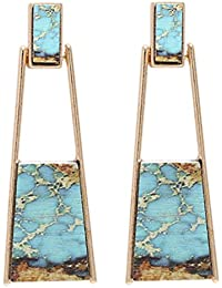 Bohemian Wood And Marble Effect Oblong Shaped Drop Statement Earrings