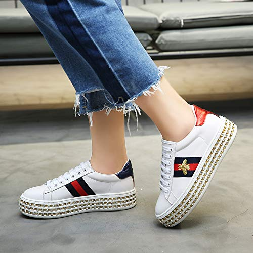 Rhinestone Women's Bee Shoes Shoes 39 White White Female New White 35 Hollowed Thick Out Laces soled XING Casual GUANG Shoes qB4xwP8