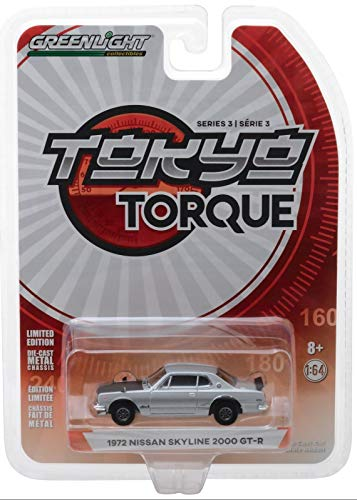 - 1972 Nissan Skyline 2000 GT-R Silver with Black Hood Tokyo Torque Series 3 1/64 Diecast Model Car by Greenlight 47010 C