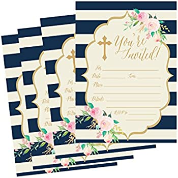 50 Navy Religious Invitations Confirmation Holy Communion Baptism Christening Baby Dedication Or Blessing Reconciliation 1st First Invites