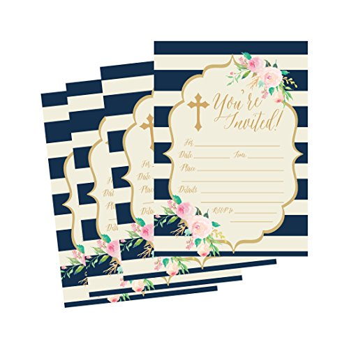 50 Navy Religious Invitations, Confirmation, Holy Communion, Baptism, Christening, Baby Dedication or Blessing, Reconciliation, 1st First Communion Invites, Easter Party Invitation Cards ()