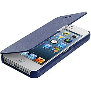 Accessory Planet(TM) Dark Blue Magnetic Closing Wallet Pouch Case Cover Accessory for Apple iPhone 5 / 5S