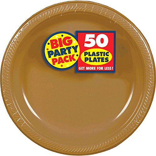 Amscan Reusable Round Gold Plastic 10'' Pack 50 Party Supplies , 300 Pieces