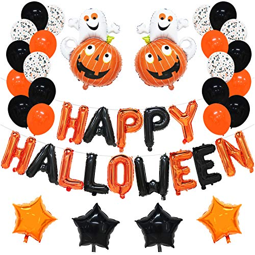 Halloween Balloon Set | Halloween Decorations Outdoor Indoor | Happy Halloween Balloons Banner, Orange and Black Latex Balloons, Black and Gold Confetti Balloons, Pumpkin Ghost Balloon, Star Balloons -