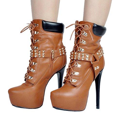 Booties Round Hidden Platform MERUMOTE 2 Rivets Women's UK Heels High Metal Brown Ankle Strap Toe Shoes 12 754wq