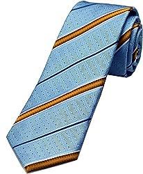 Zarrano Skinny Tie 100% Silk Woven Blue/Yellow Herringbone Stripe Tie