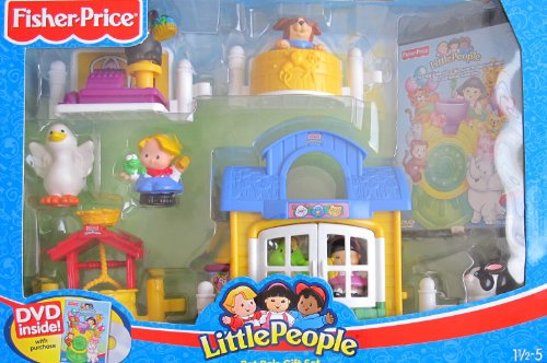 (Little People PET PALS GIFT SET w 7 FIGURES, Pet SHOP w GROOMING Center, Wishing Well & FREE DVD (2006))