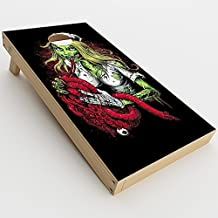 Skin Decal Vinyl Wrap for Cornhole Game Board Bag Toss (2xpcs.) Skins Stickers Cover / Zombie Nurse Eating Flesh