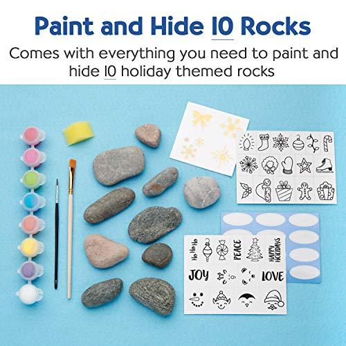 Creativity for Kids Holiday Hide & Seek Rock Painting Kit, Paint & Hide 10 Rocks, Holiday Crafts For Kids
