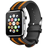 Apple Watch Band, LNGLAT 42mm Soft Silicone Replacement Sport Style Strap for Apple Watch - Black Orange