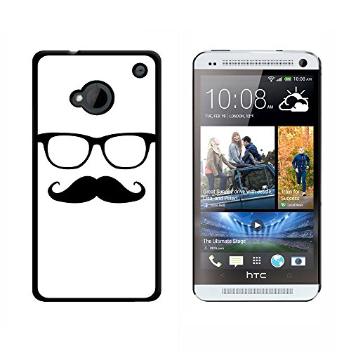 Graphics and More Hipster Glasses - Mustache - Snap On Hard Protective Case for HTC One 1 - Black