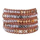KELITCH Crystal on Gray Leather Charm 5 Wrap Bracelet Handmade New Top Jewelry40