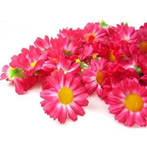 "(100) Silk Hot Pink Gerbera Daisy Flower Heads , Gerber Daisies - 1.75"" - Artificial Flowers Heads Fabric Floral Supplies Wholesale Lot for Wedding Flowers Accessories Make Bridal Hair Clips Headbands Dress 69"
