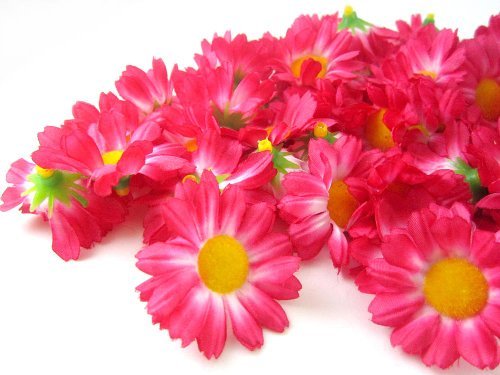 100-Silk-Hot-Pink-Gerbera-Daisy-Flower-Heads-Gerber-Daisies-175-Artificial-Flowers-Heads-Fabric-Floral-Supplies-Wholesale-Lot-for-Wedding-Flowers-Accessories-Make-Bridal-Hair-Clips-Headbands-Dress
