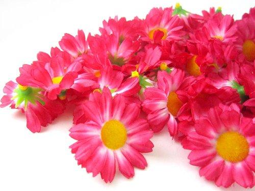 (100) Silk Hot Pink Gerbera Daisy Flower Heads , Gerber Daisies - 1.75