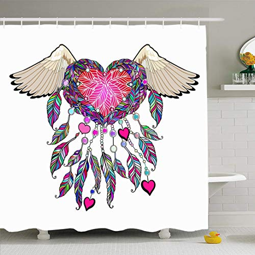 Ahawoso Shower Curtain Set with Hooks 72×78 Apparel Tribal Angel Amulet with Retro Tattoo Vintage Feather Fashion Hanging Girly Freedom Pink Waterproof Polyester Fabric Bath Decor for Bathroom