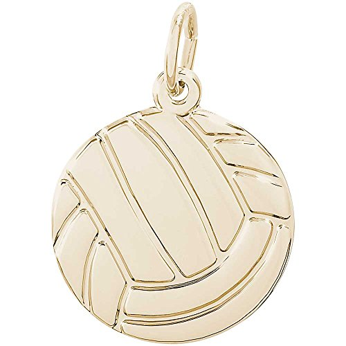 Volleyball 14k Gold Charm (Rembrandt Charms Volleyball Charm, 14K Yellow Gold)