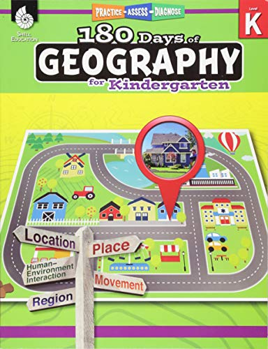 Geography Workbook Set - 180 Days of Social Studies: Grade K - Daily Geography Workbook for Classroom and Home, Cool and Fun Practice, Kindergarten Elementary School Level ... to Build Skills (180 Days of Practice)