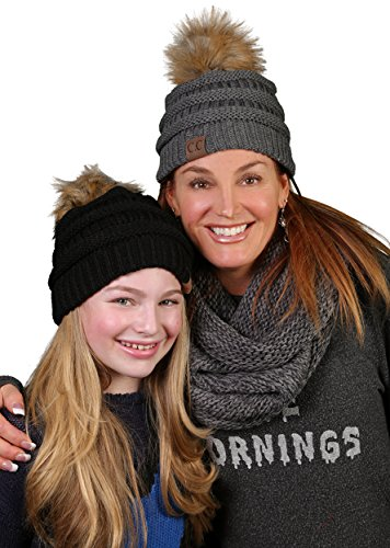 H-6043-70 Solid Ribbed Beanie with Faux Fur Pom - Charcoal
