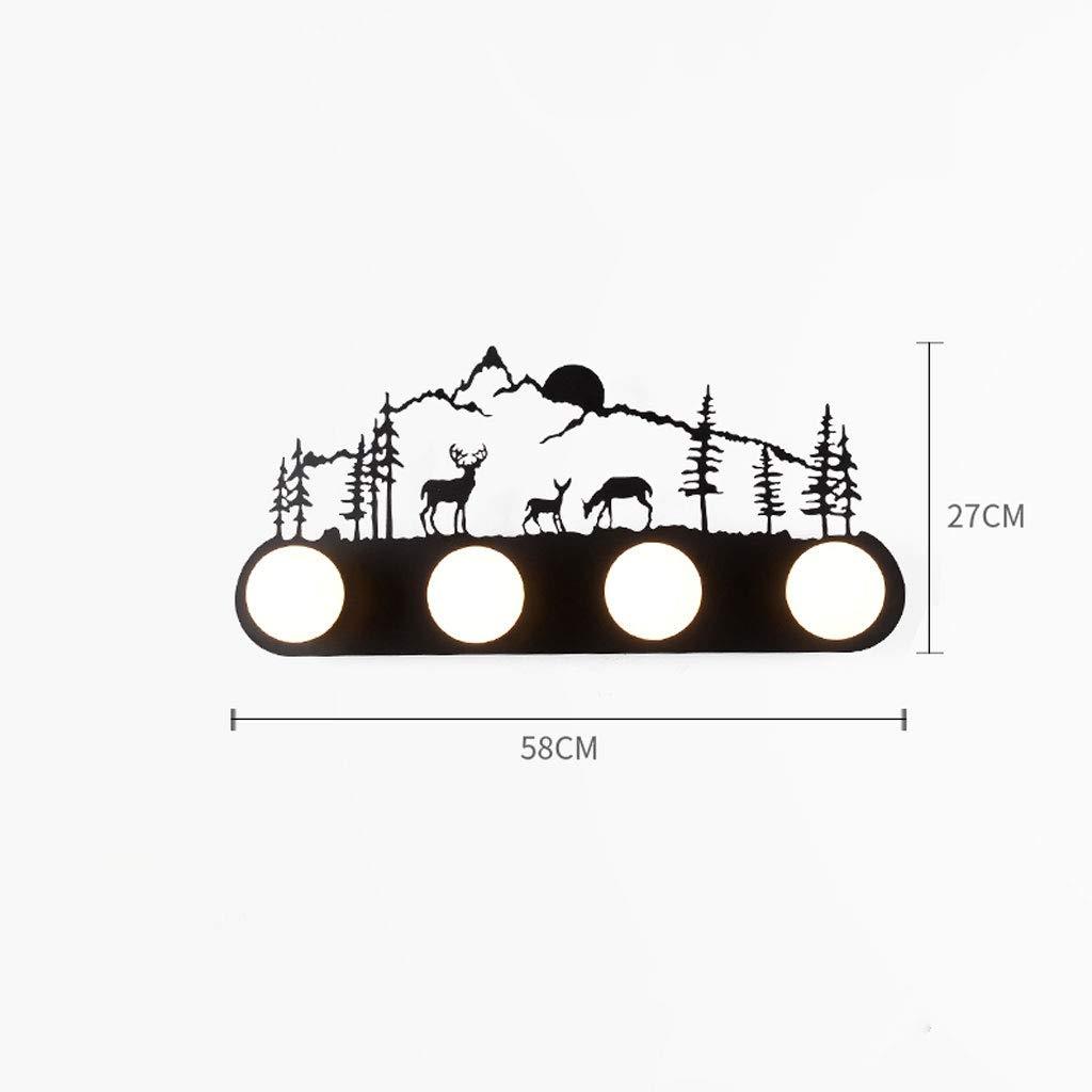 NJ Wandlampe- Kreative Schmiedeeisen Wandleuchte, LED Wohnzimmer Schlafzimmer Nacht Kinderzimmer Korridor Gang Dekorative Lichter (fünf Optional) (Größe   B)