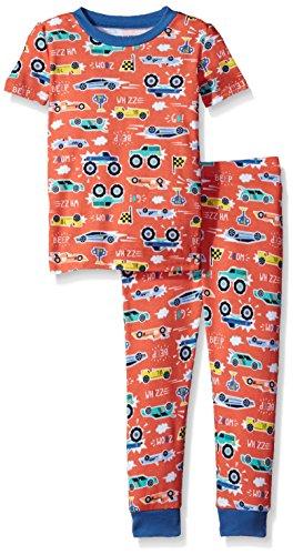The Children's Place Baby Big Boys' Short Sleeve Top and Pants Pajama Set, Fusion Orange 81690, 4T (Sleeve Boys Short Pajamas)