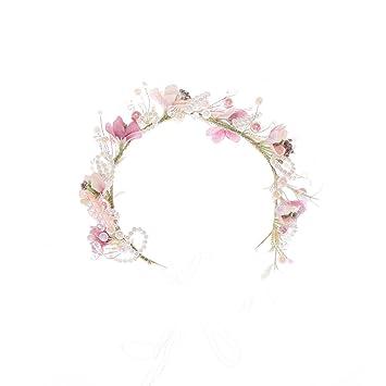 Amazon Com Magideal Pearls Flower Crown Headband Wedding Prom