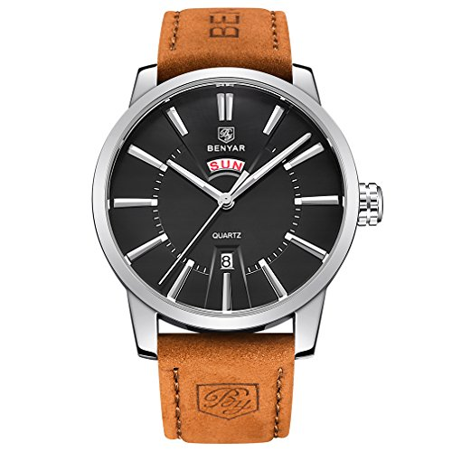 BENYAR Watches Classic Fashion Waterproof Date Business Casual Sport Leather Band Wrist Watch for Men (White)
