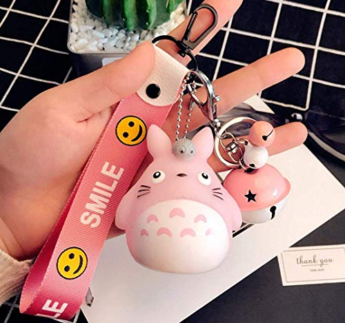 1 Pcs 2019 New Cute Kawaii Cartoon Pink Cat Bell Totoro Keychain Smile Wrist Key Chains Novelty Creative Toy Gift Accessories Fashion Ornaments Coin Purse Keyring Bag Buckle Cellphone Pendant