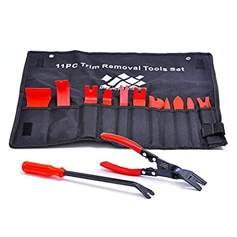 AFA [13 Pcs] Auto Upholstery Tools - Strong Nylon Won't Break Like ABS - BONUS Clip Pliers & Fastener (Trim Pad Removal Tool)
