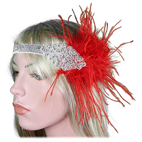 Red Flapper Headpiece (1920s Flapper Headband 20s 30s Great Gatsby Headpiece Red Feather Gatsby Silver band Hair Accessories Rhinestones Crystal Headdress)