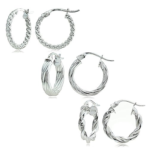 Sterling Silver Polished Twist Design 15mm Round Hoop Earrings, Set of 3