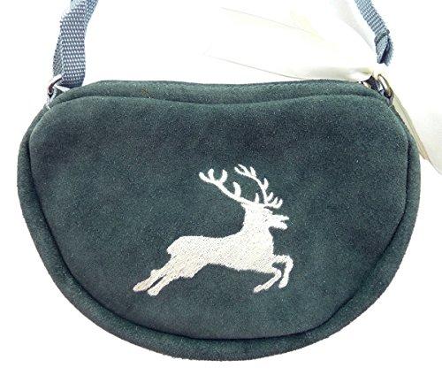 Kleine, graue Trachtentasche Dirndltasche Umhängetasche mit Trachten-Stickerei Hirsch