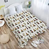 PUTIEN Unique Rectangular Flannel Blanket Funny Animals Native American Indian Ethnic Elements Owls Wolfs Illustration Perfect for Couch Sofa or Bed(49Wx59L)