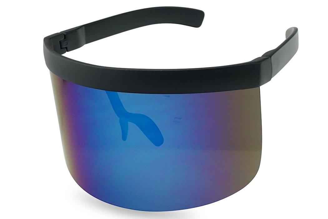 Extra Large Mask Cover Shield Visor Style Sunglasses W/Flash Mirrored Mono Lens (Matte Black, Blue Mirror)