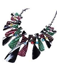 Qiyun Colorful Enamel Bow Rhinestone Bib Graduated Lavaliere Chain Necklace e mail Colore Arc Lavallie re Collier