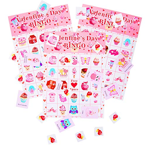 Valentine's Day Bingo Game Cards for Kids Class Party Supplies Activity - for up to 24 Players (Valentine) ()